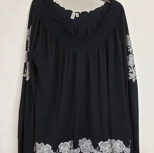 Madison Black with White flower embellishments top